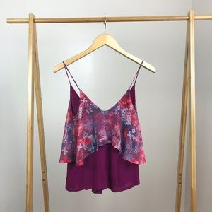 Sparkle & Fade UO • Layered Crop Top Tie Dye Small